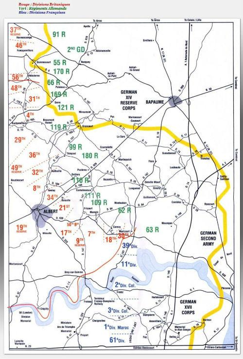 Carte des positions des divisions militaires