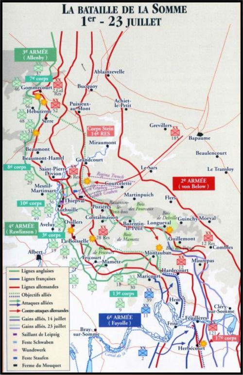 La Bataille de la Somme du 1er au 23 Juillet 1916